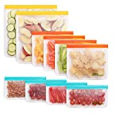 10 Pack Reusable Storage Bags, Colored (2 Resusable Gallon Bags, 4 Reusable Sandwich Bags, 4 Reusable Snack Bags), Ziplock, Extra Thick, Leakproof, Freezer Safe Plastic Free Food Bags