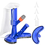 S-Union Portable Pool Spa Jet Vacuum Underwater Cleaner with Brushes & Leaf Bag, for Above Ground Pools, Spas, Ponds, Inflatable Pools & Fountains-Attaches to Garden Hose