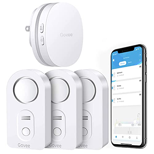 Govee WiFi Water Sensor 3 Pack, 100dB Adjustable Alarm and App Alerts, Leak and Drip Alert with Email, for Home, Basement
