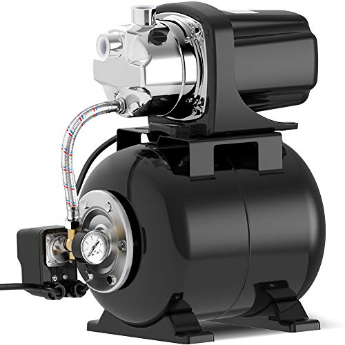 Lanchez 1.6 HP Shallow Well Pump with Pressure Tank 1030GPH Stainless Steel Jet Pump Automatic Booster System