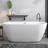 FerdY Bali 55' Acrylic Freestanding Bathtub, Gracefully Shaped Freestanding Soaking Bathtub, Glossy White cUPC Certified, Toe-Tap Chrome Drain and Classic Slotted Overflow Included, 02538