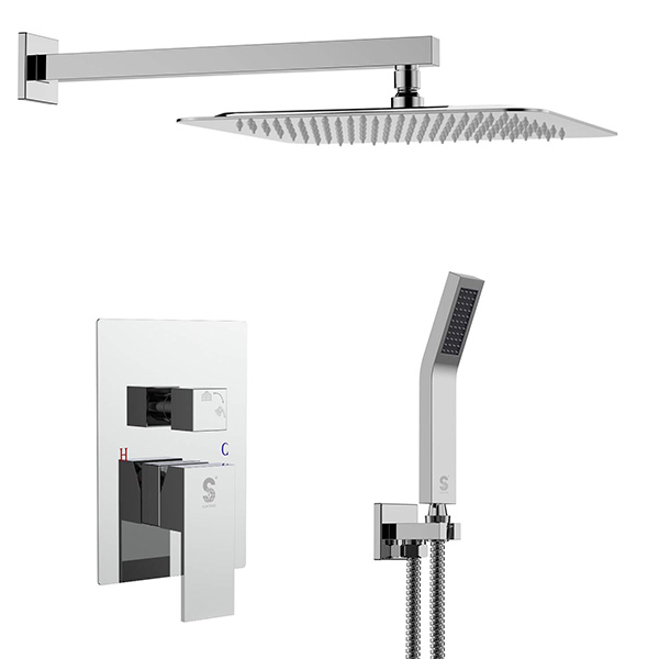 SR SUN RISE SRSH-F5043 10 Inch Bathroom Luxury Rain Mixer Shower Combo Set Wall Mounted Rainfall Shower Head System Polished Chrome